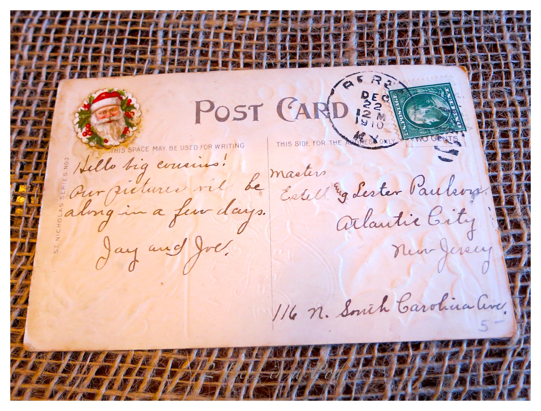 Rustic Christmas - I love the crusty, rusty, chippy and warmth that rustic elements bring to my home for Christmas!  This is the backside of the 1910 Christmas postcard.  Isnt the Santa decal wonderful too?