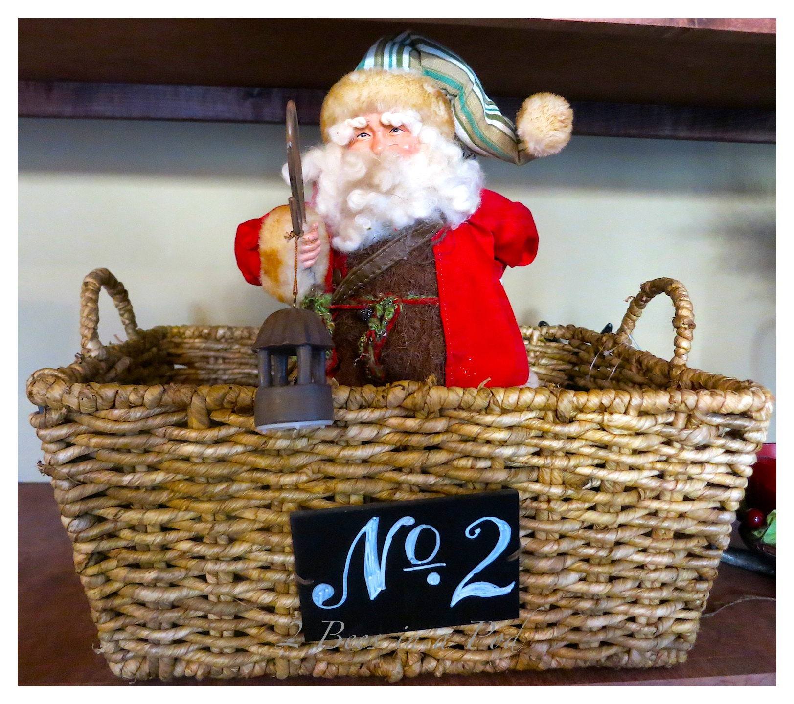 Rustic Christmas - I love the crusty, rusty, chippy and warmth that rustic elements bring to my home for Christmas!I drew the Number 2 chalkboard basket.  This Santa is a vintage replica.