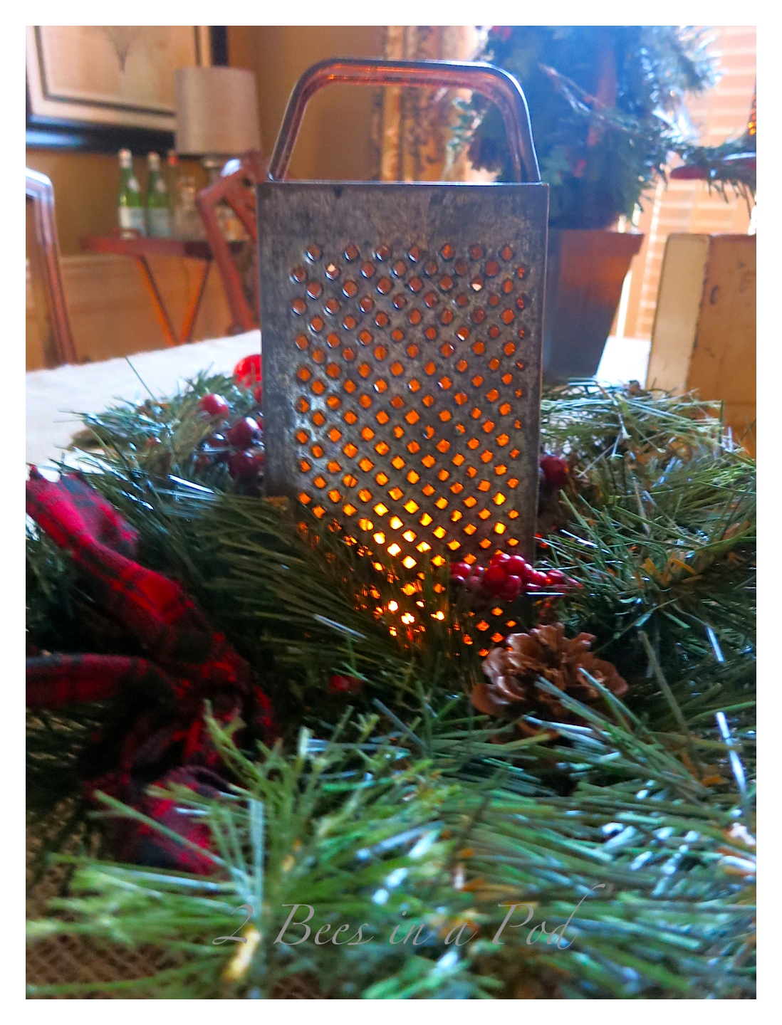 Rustic Christmas - I love the crusty, rusty, chippy and warmth that rustic elements bring to my home for Christmas! I really like the vintage grater and wreath as a tea light centerpiece.