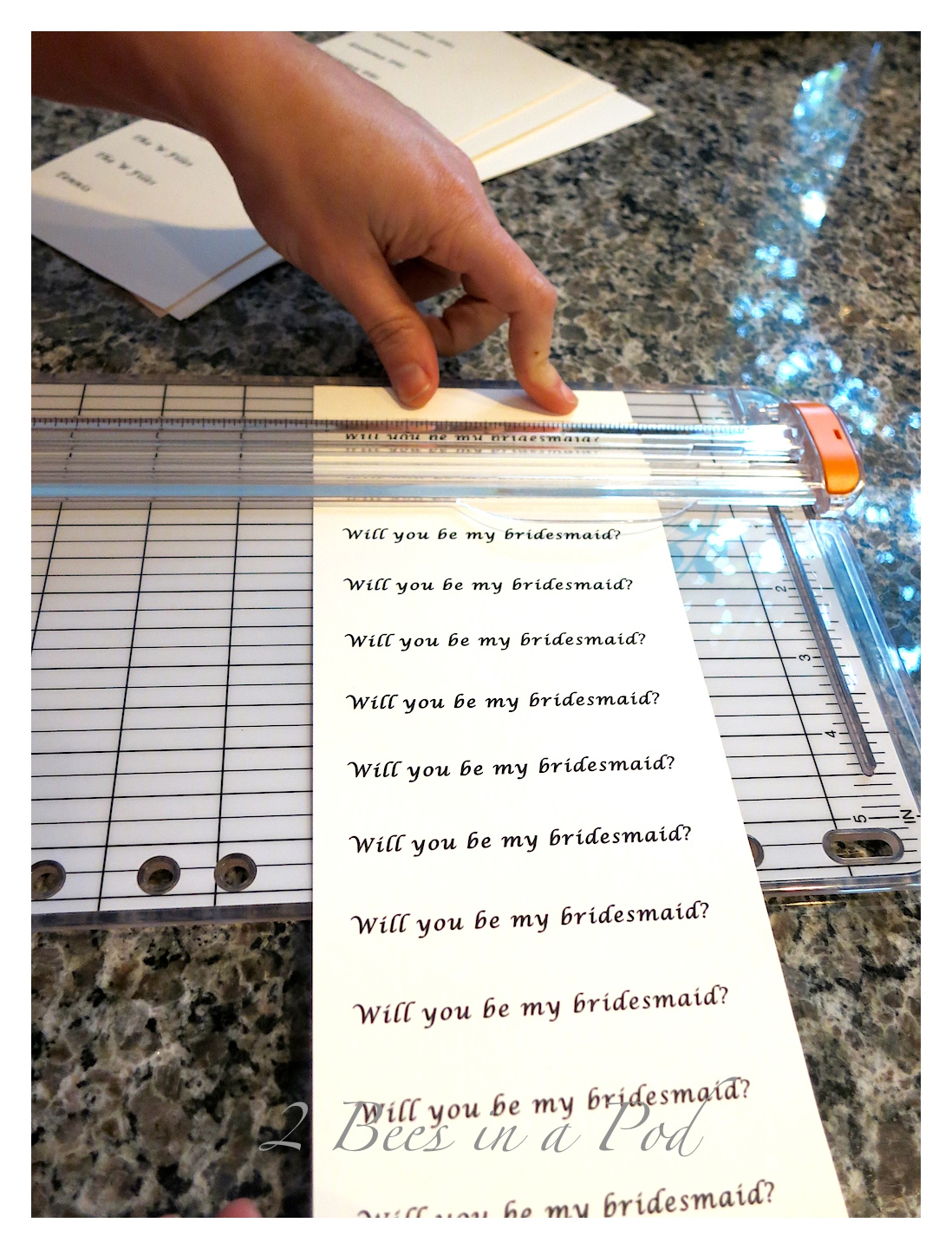 Using paper cutter for Will you be my bridesmaid ornaments