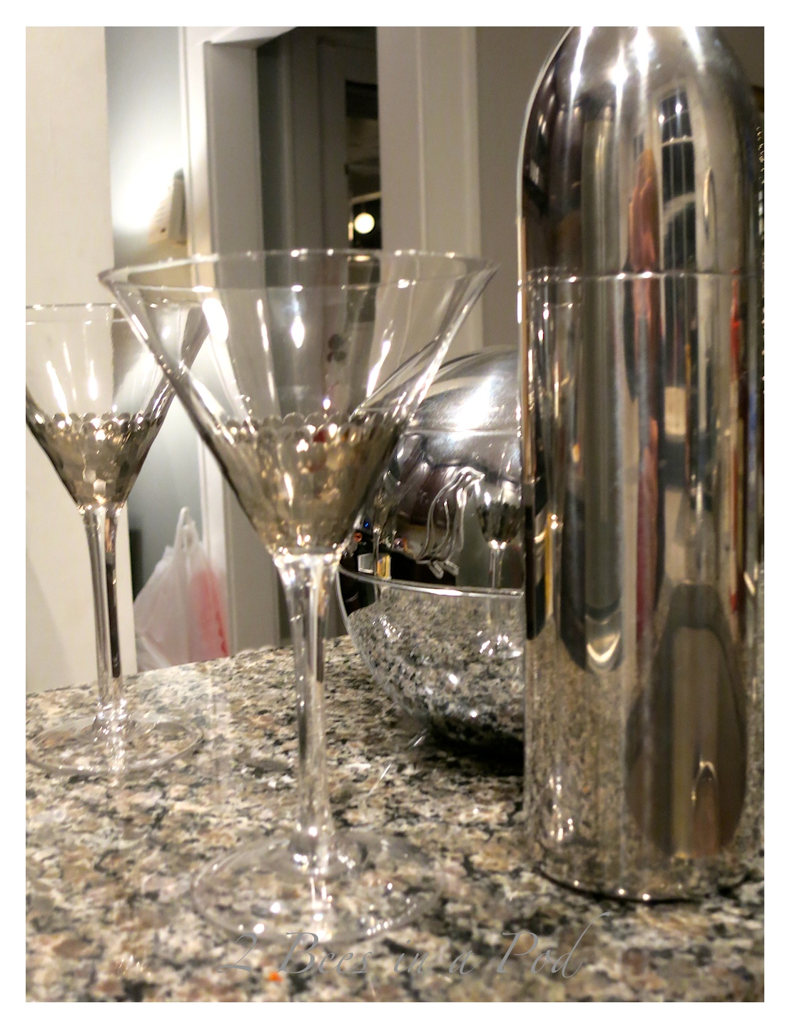 Martini glasses with silver...perfect for the holidays