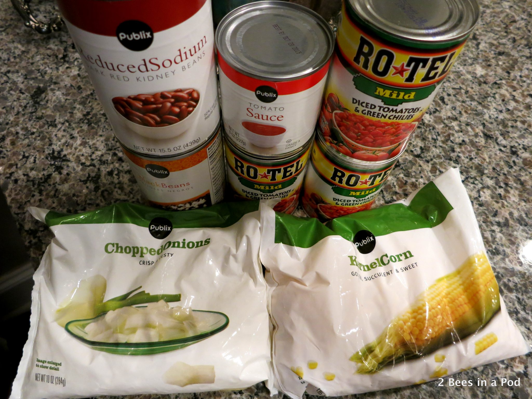 Ingredients for crock pot chicken taco chili...Weight Watchers