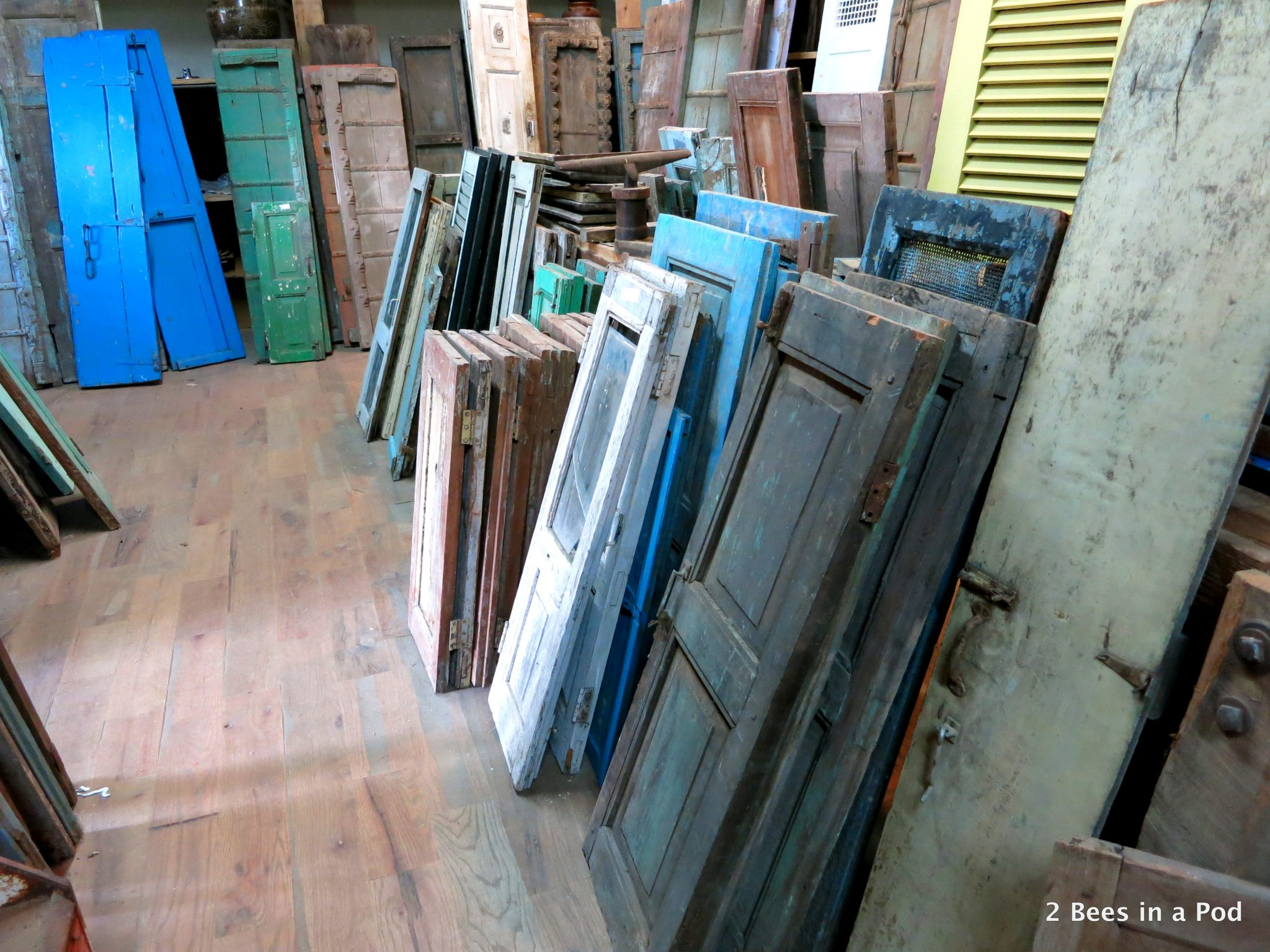 Shutters in hues of blue...Culpepper's Otto Depot in Otto, NC - architectural salvage.