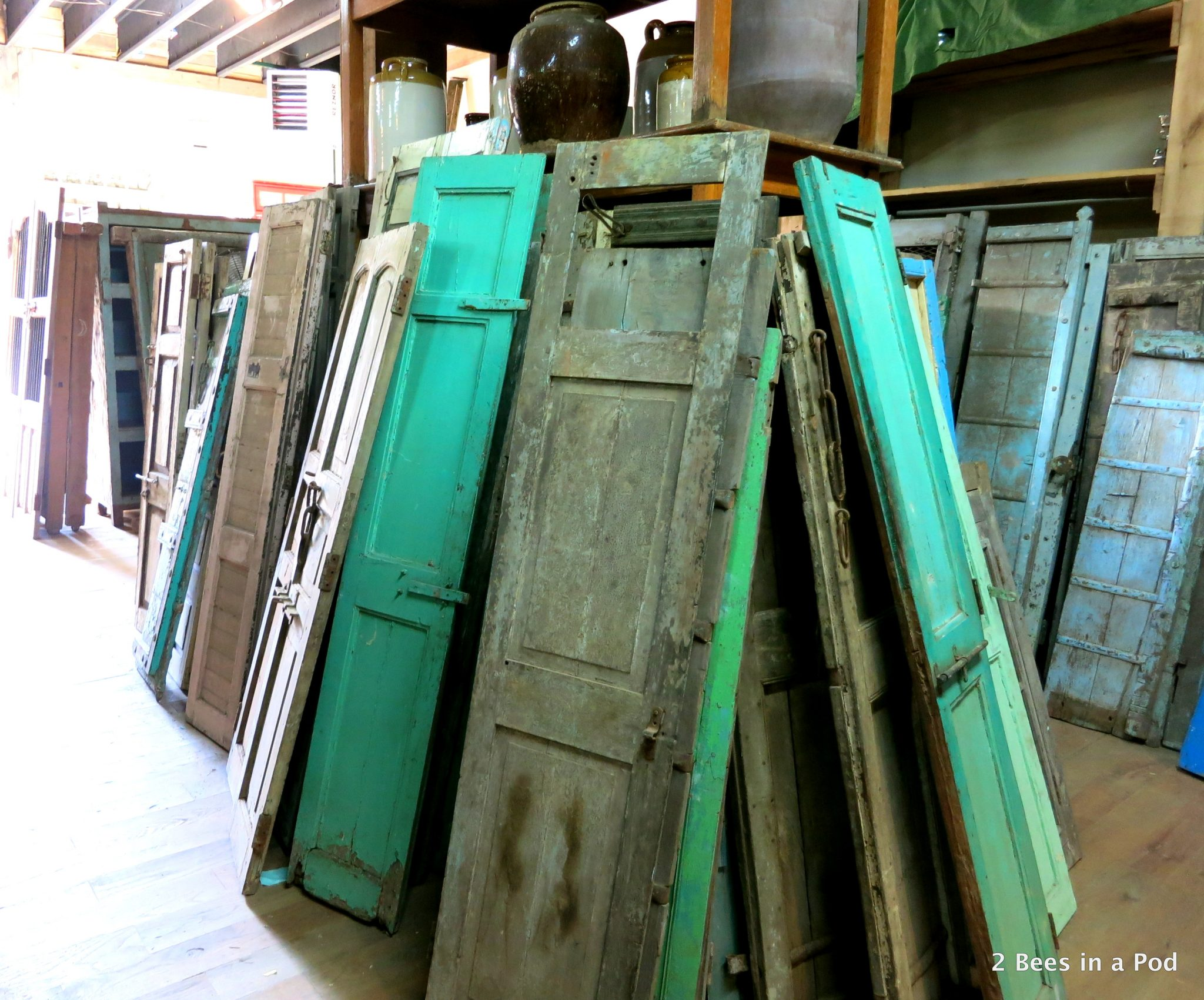 shutters in hues of green...Culpepper's Otto Depot in Otto, NC - architectural salvage.