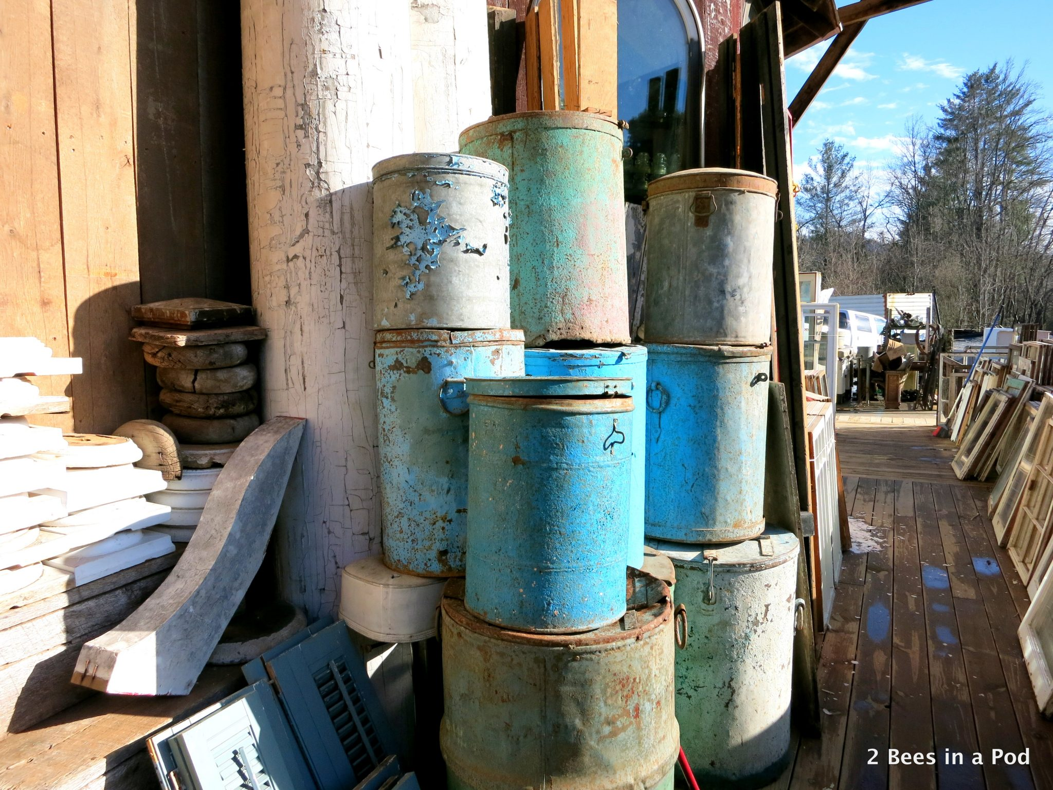 Culpepper's Otto Depot in Otto, NC - architectural salvage. Love the teals and blues in these barrels
