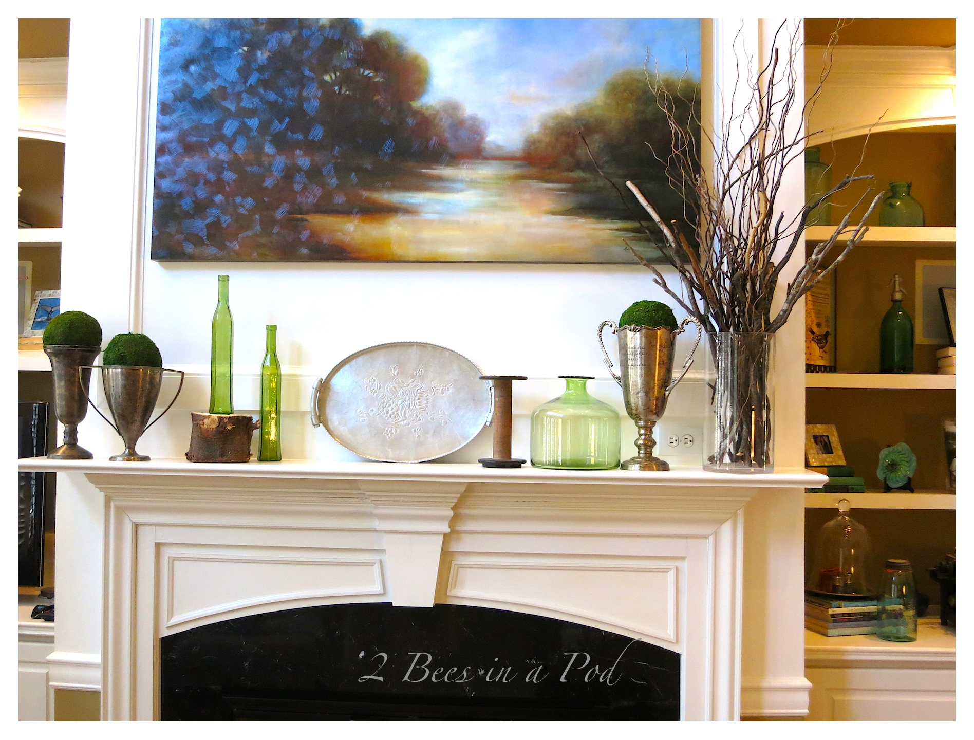 Winter Mantle Spruce-Up...elements of wood, earth, greenery and metal.