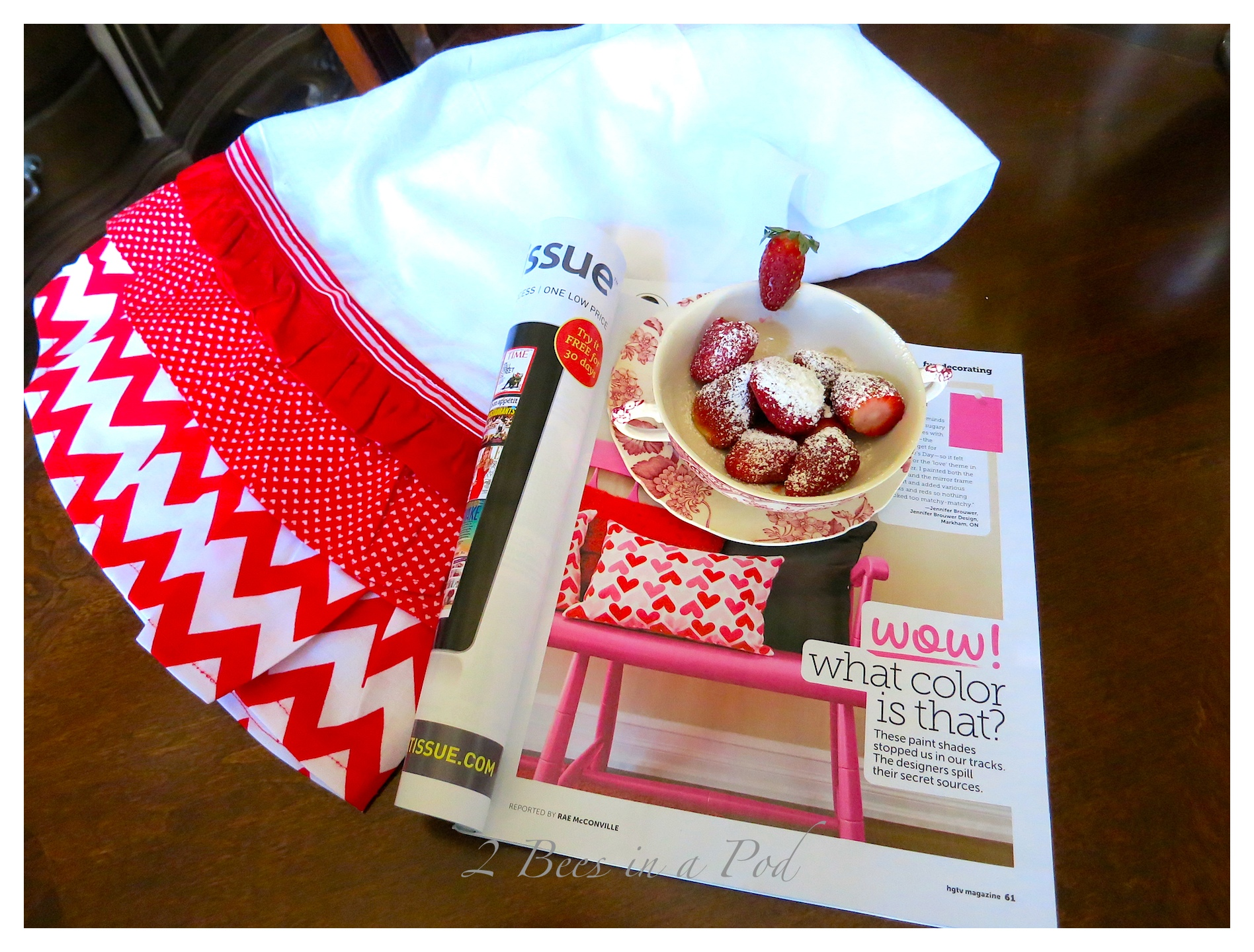 Hand sewn Valentine tea towel - for just a little bit of holiday in the kitchen.