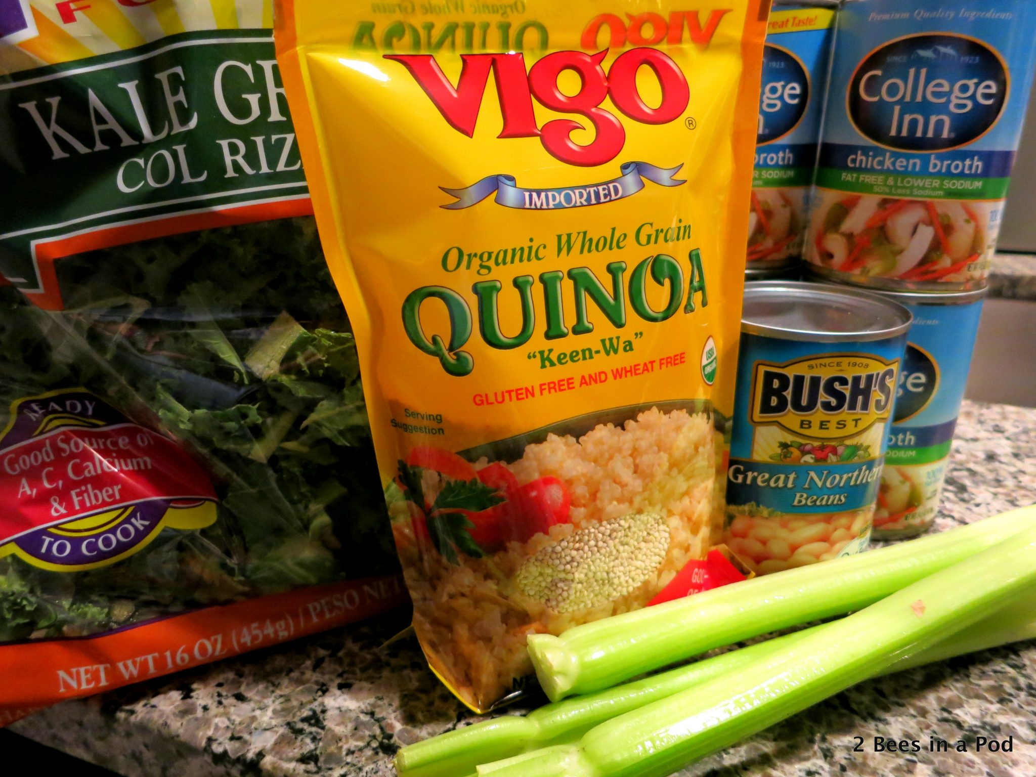 Ingredients for Chicken, Kale, and Quinoa Slow Cooker Soup