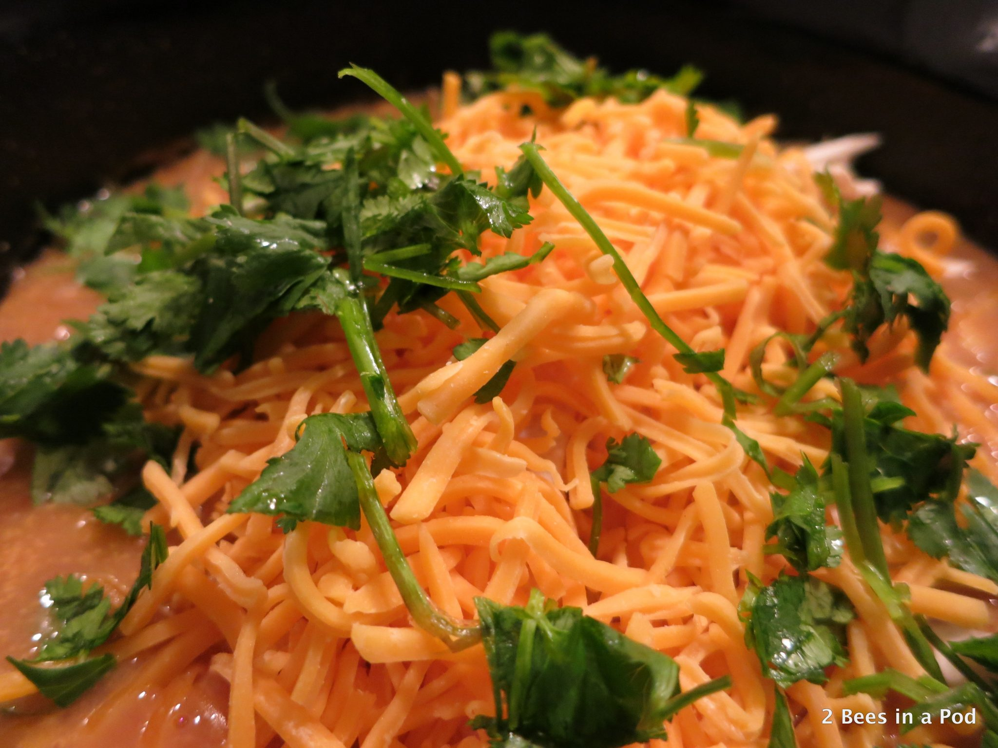 Cheese & Cilantro in Slow Cooker Chicken Tortilla Soup