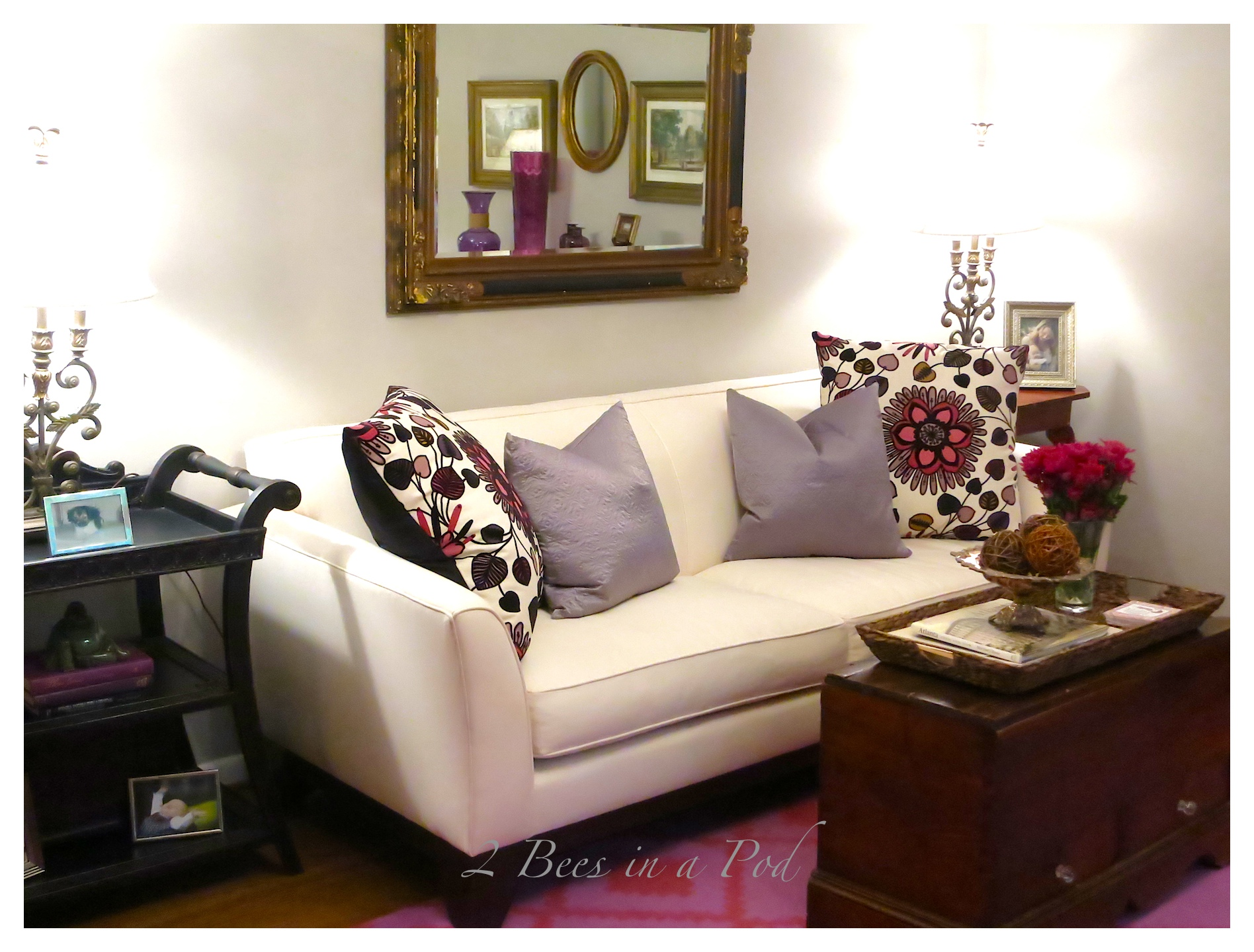 We did a living room makeover for a client that was so much fun! She already had great taste, antiques and furnishings. We just came to pull it all together!