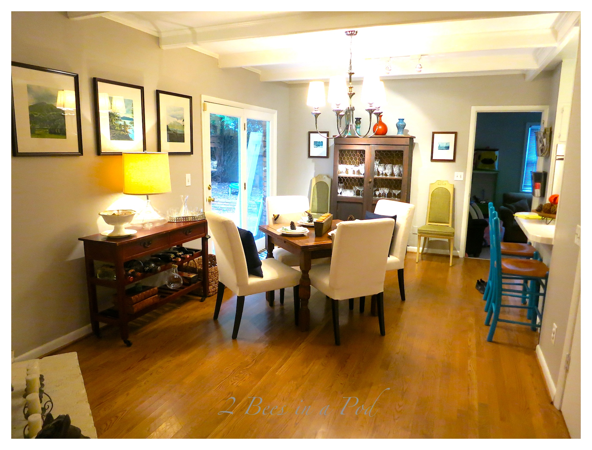 A dining area got a makeover...by just moving around furnishings and accessories a complete transformation and look was achieved.