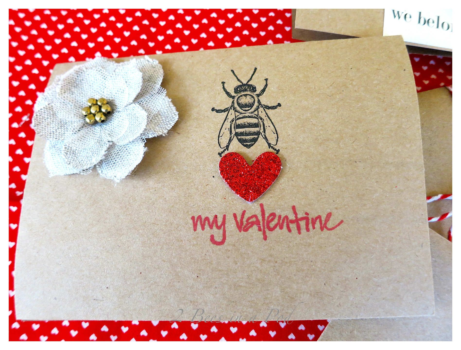 Handmade Valentines...couldn't resist using the cute bee, burlap flower, stamps and car stock