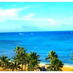 A view of Waikiki Beach from our balcony at Park Shore. The color of the water changed throughout the day - all of it beautiful.