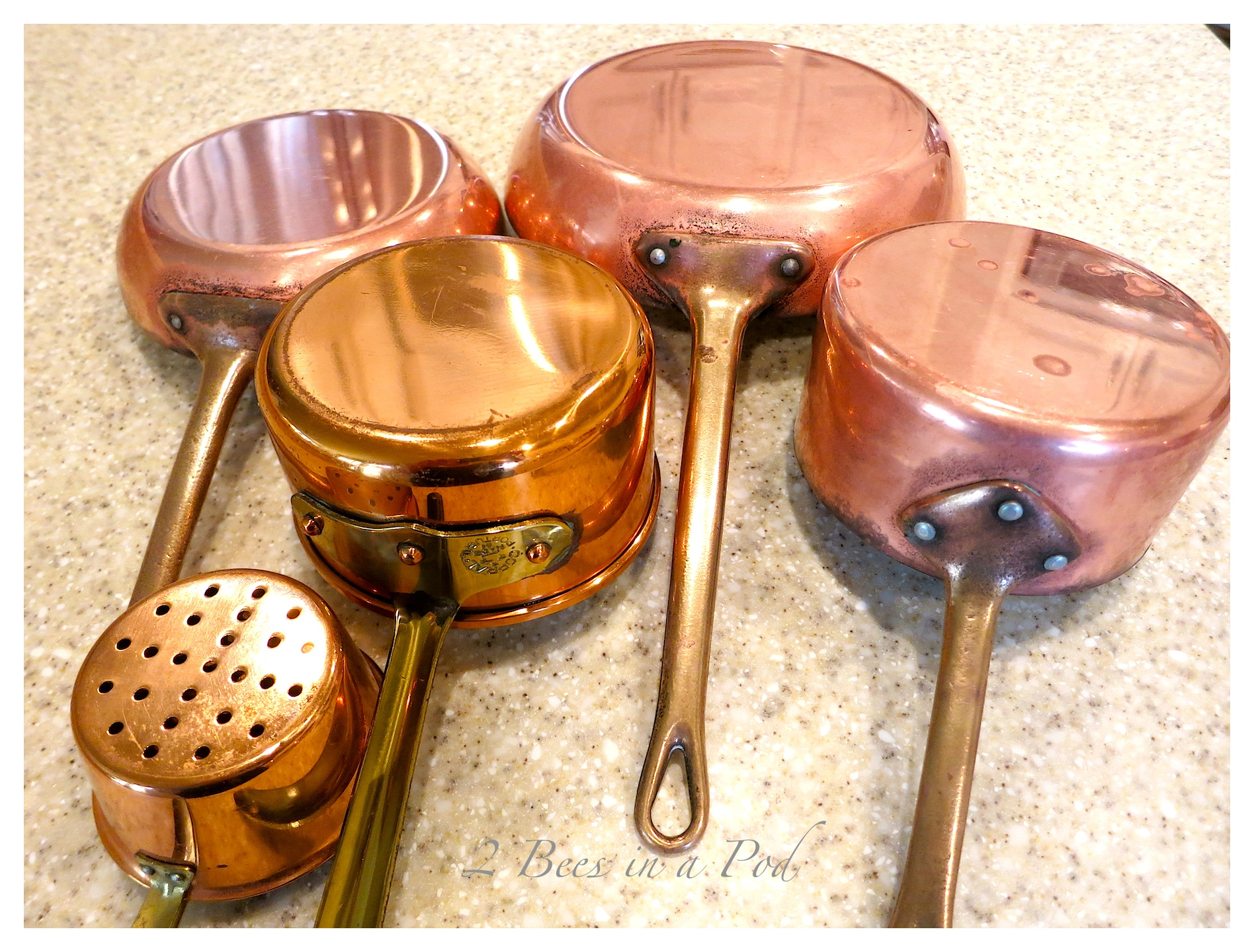 IA safe and organic way to clean copper pots and pans. Use lemon and kosher salt to wipe away grime. Shiny and polished!