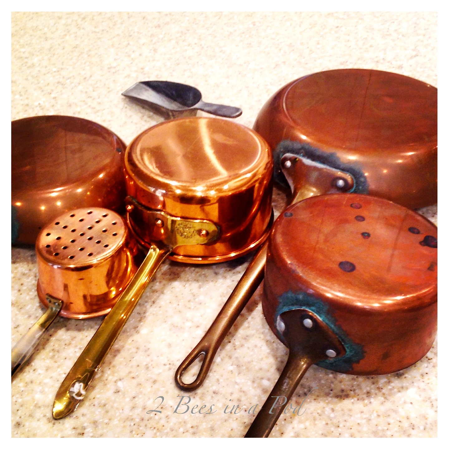 A safe and organic way to clean copper pots and pans. Use lemon and kosher salt to wipe away grime. Shiny and polished!