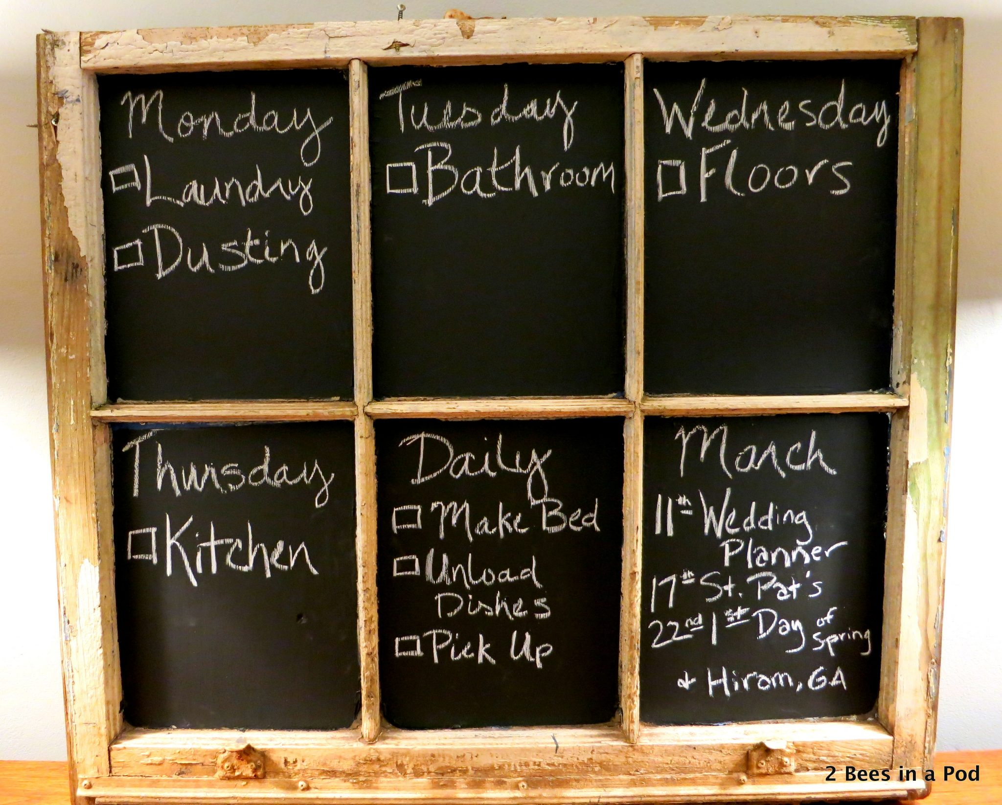 with chalk paint...trash to treasure! My adult chore chart :)
