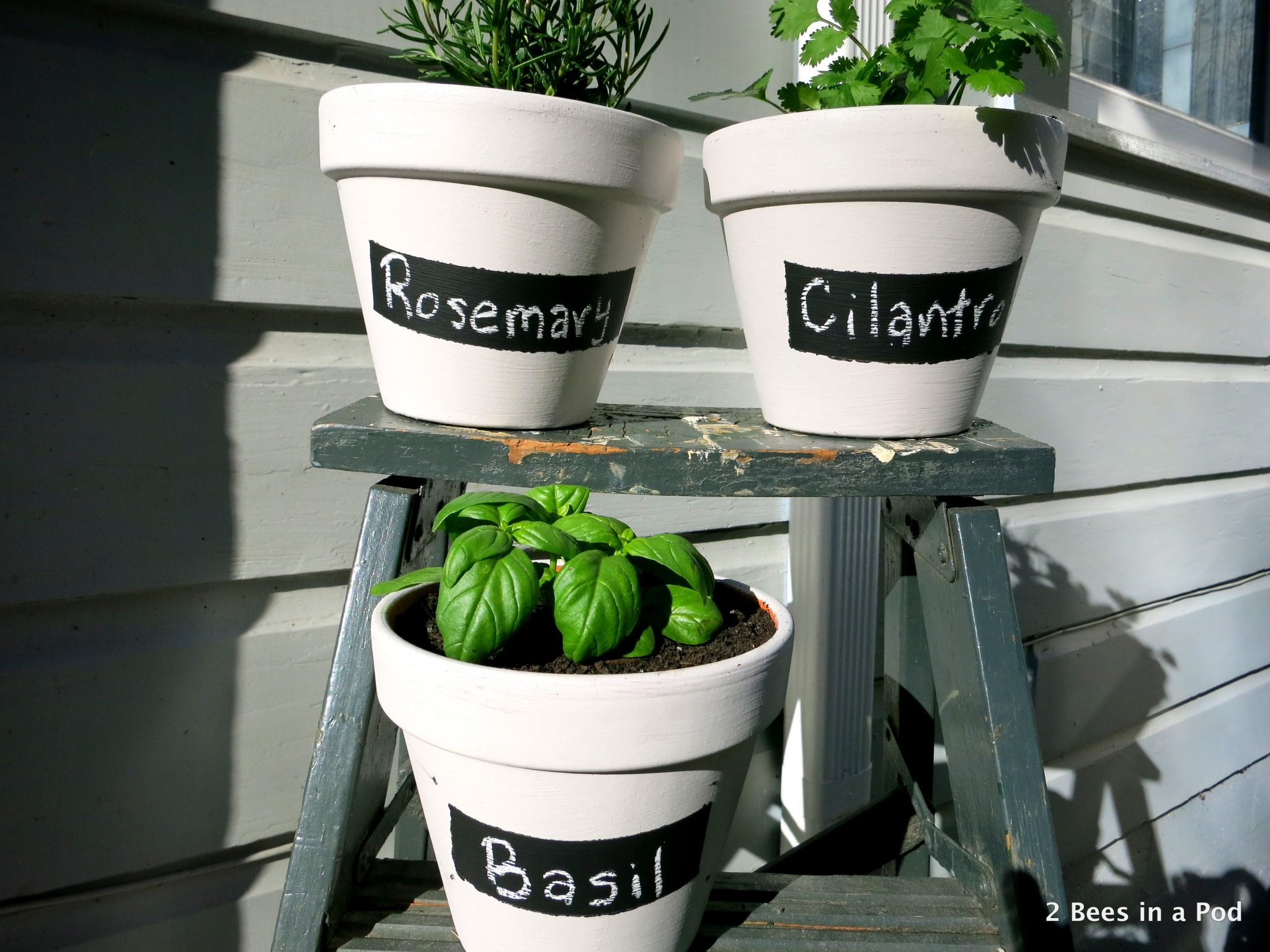 , chalk paint labels, and repurposed step ladder