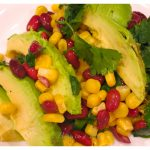 Black bean, corn and avocado salad.  Very flavorful with the addition of fresh lime juice, jalapeño and cilantro. Great as a main meal or side dish!