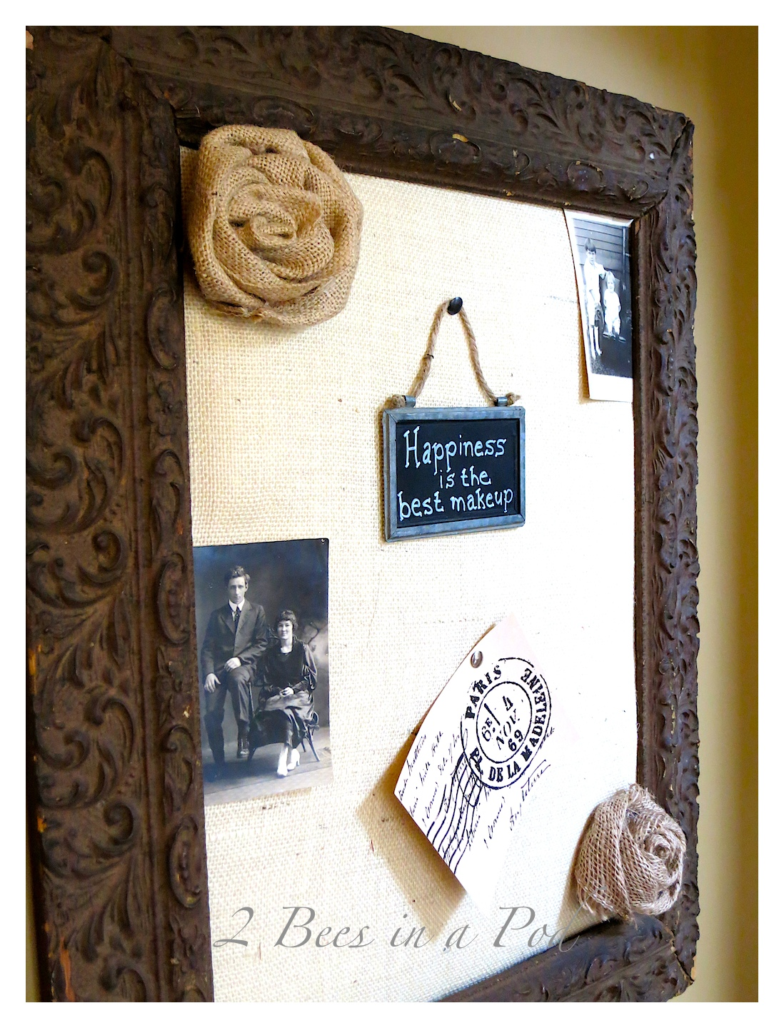 DIY Burlap Bulletin Board... - 2 Bees in a Pod