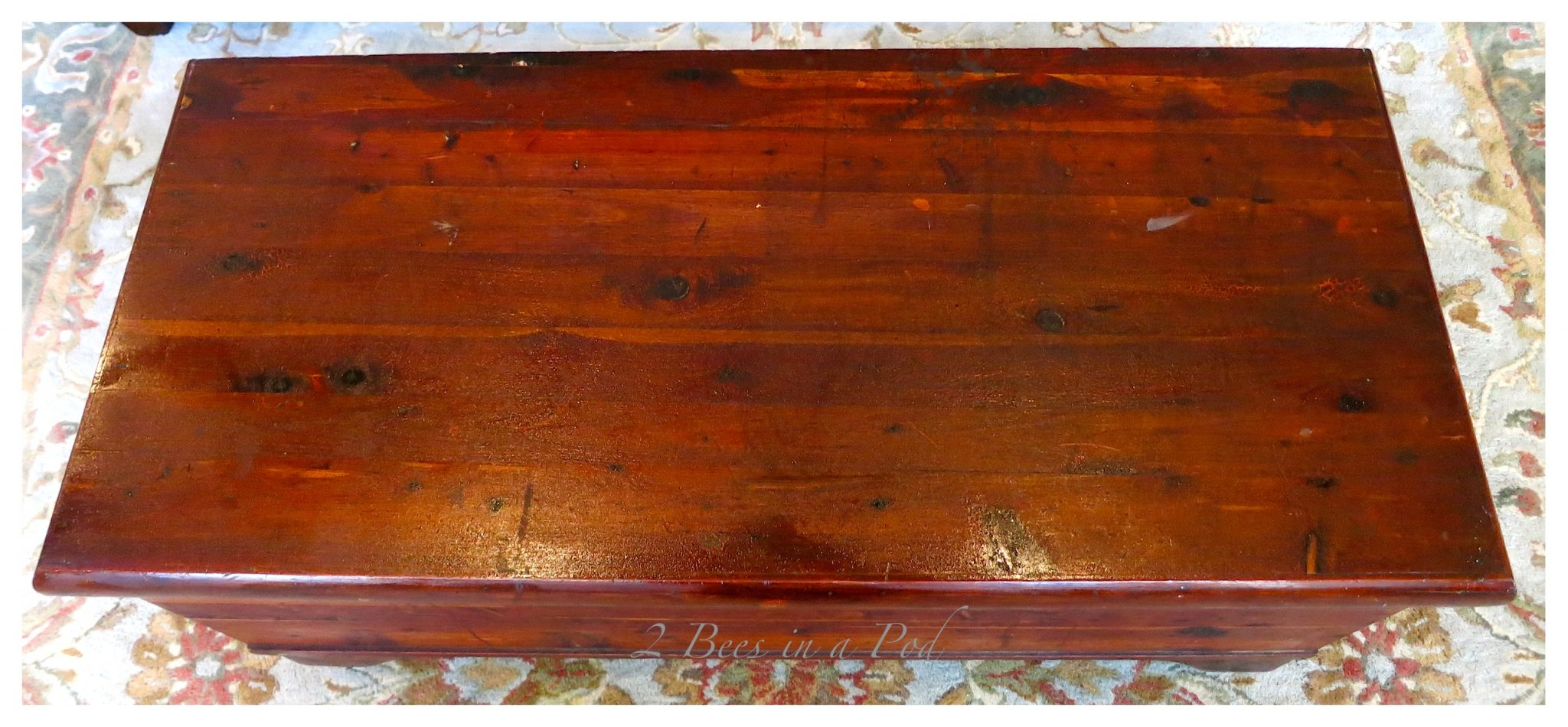 Reviving an antique vintage cedar hope chest using Old English scratch cover. Really nourishes the old wood and brings back the natural luster.