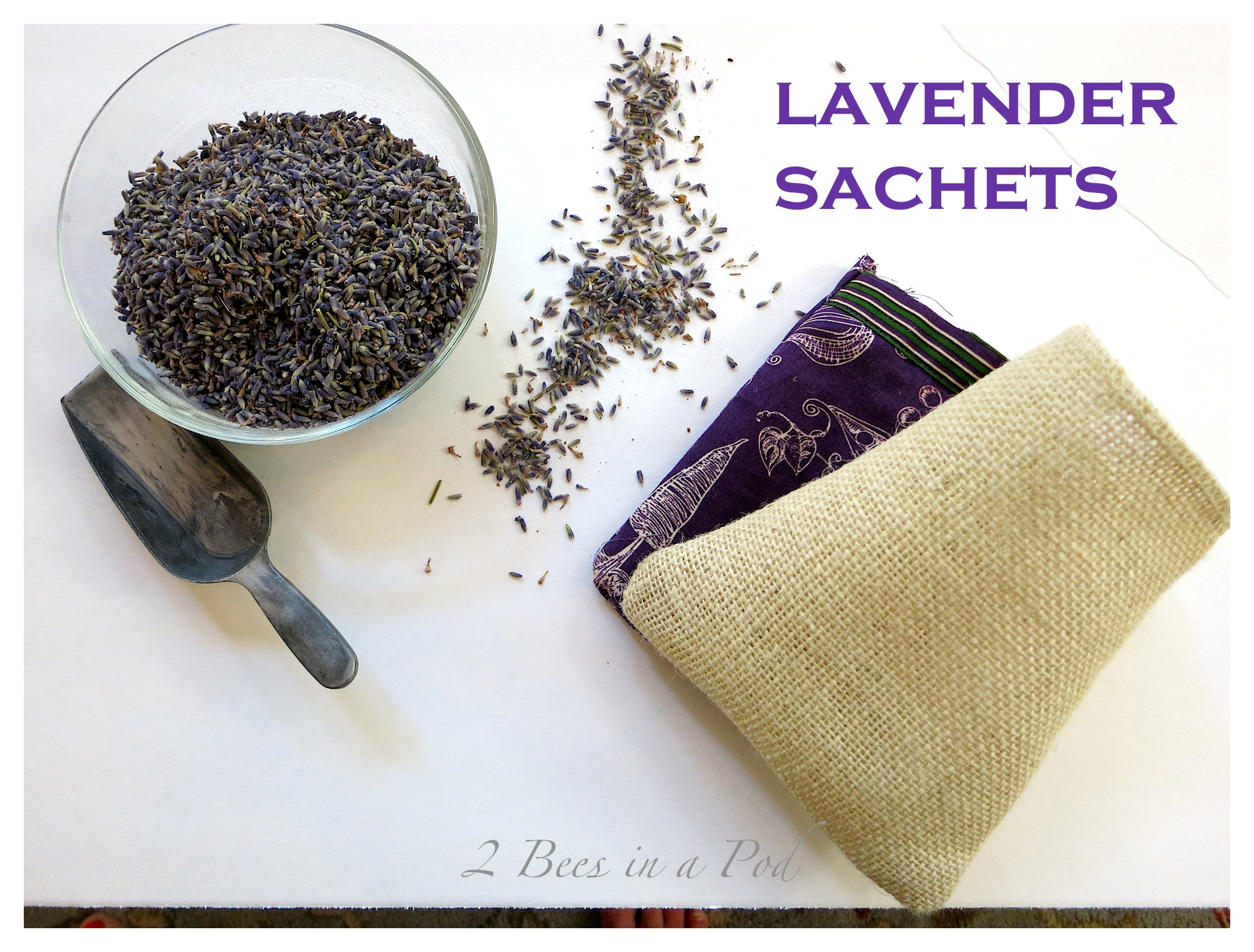 DIY Lavender Sachets - easy sew project. Use burlap fabric or cloth of your choose. Sew on three sides and then fill with lavender. Sew fourth side together. I decorate with a burlap rose. Sachet is great for drawers, on a side table in a bowl or microwave to remove funky odors.