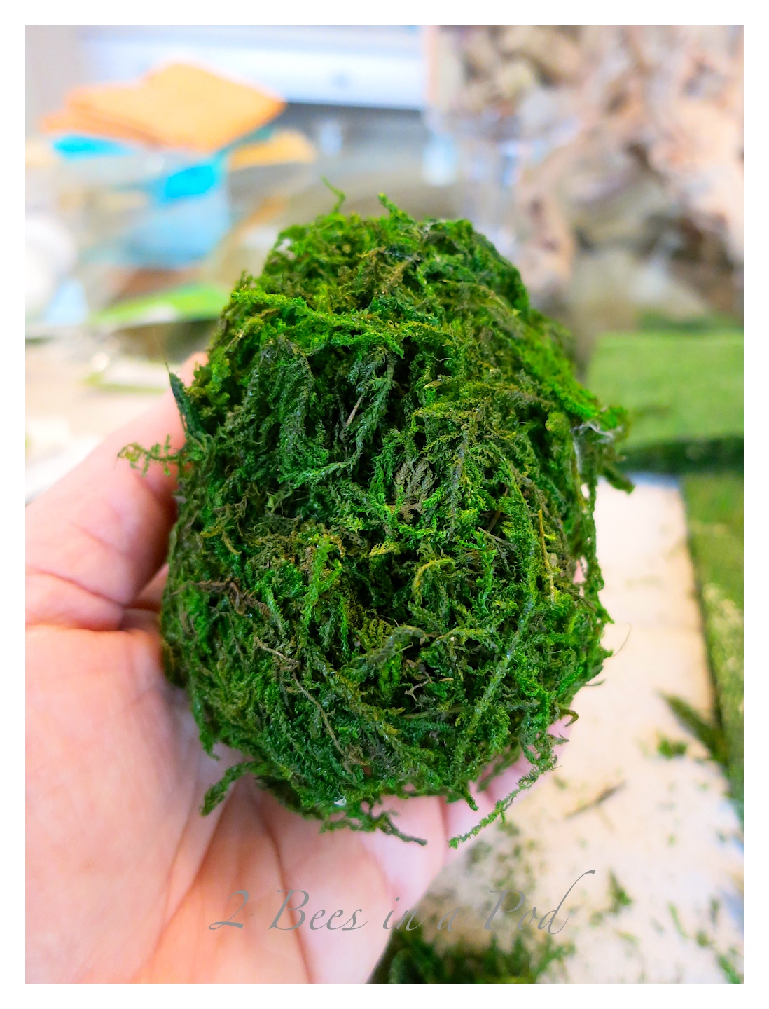 DIY moss covered eggs for Spring and Easter. Easy do-it-yourself project that takes just minutes - sheet moss, styrofoam eggs and a glue guns!