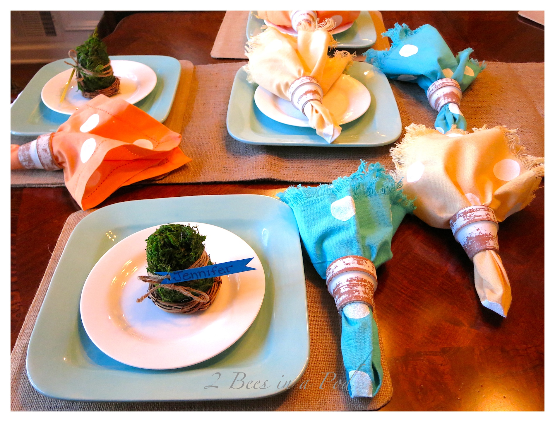 DIY painted polka dot napkins and Spring table decor. Cost saving tips...