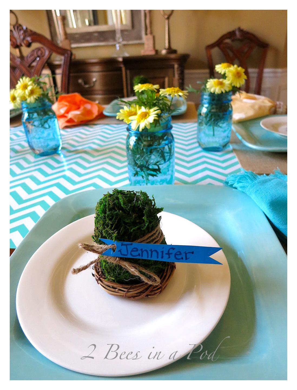 DIY painted polka dot napkins and Spring table decor. Cost saving tips...