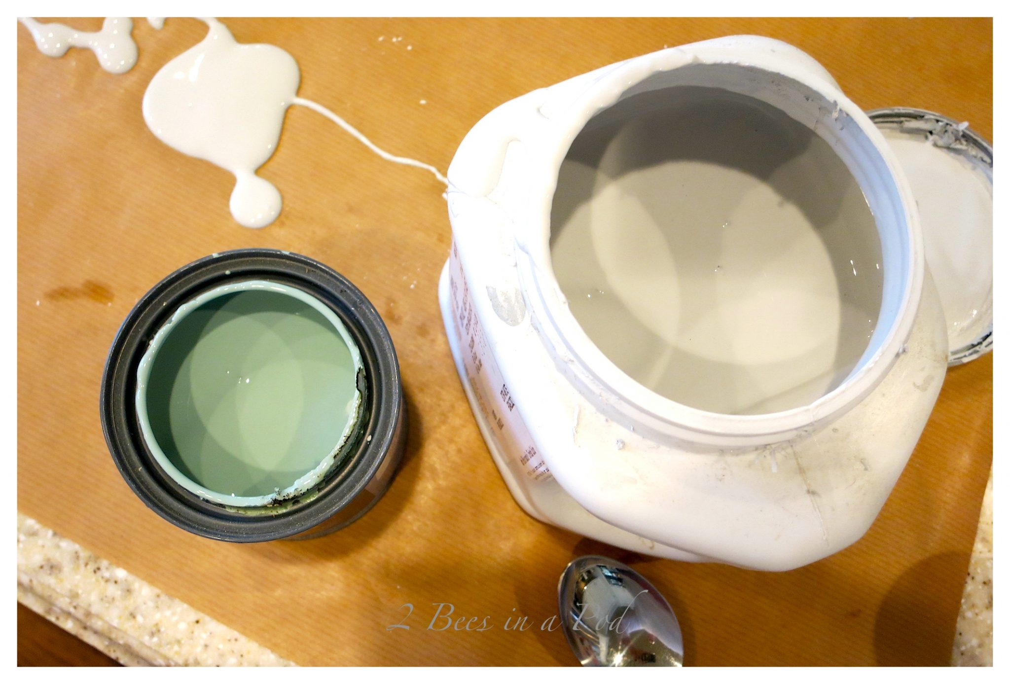 Use any color when creating homemade chalk paint. Table makeover.