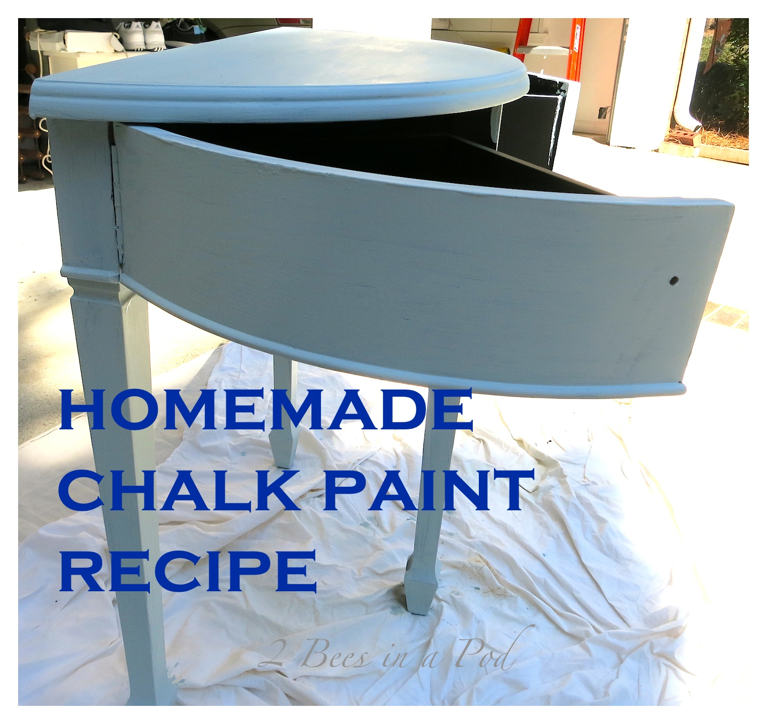 Homemade Chalk Paint Recipe using Plaster of Paris, water and latex paint.