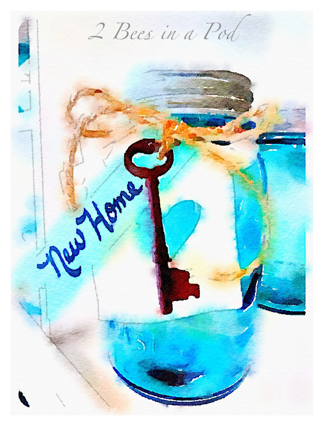 A cute and creative housewarming gift - vintage aqua Mason jar, antique skeleton key, DIY pottery clay tag. Fill the jar with treats of your choice.