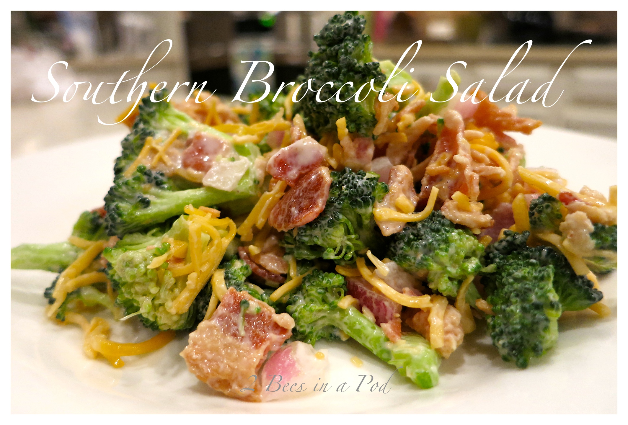 Southern Broccoli Salad. Smokey bacon, tangy vinegar , broccoli, red onion. Great picnic or cookout salad.