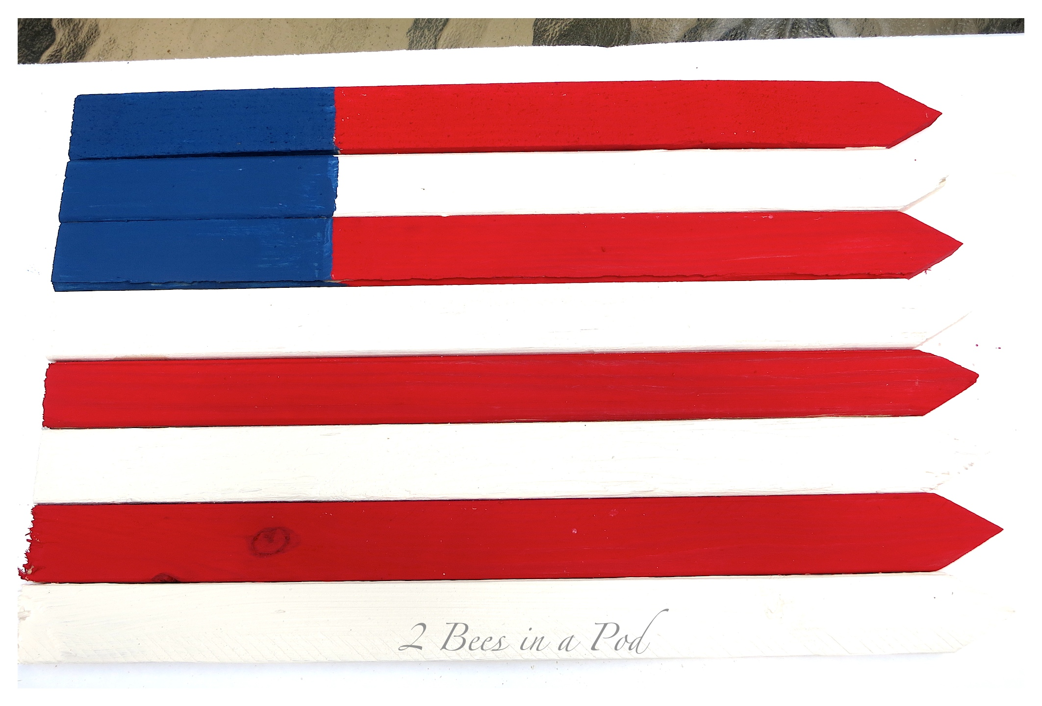 DIY tutorial - USA wooden flag made using grade stake pickets from the hardware store. Used a sander and waxes to give the flag a vintage, rustic antique finish. I'm proud to be an American :)