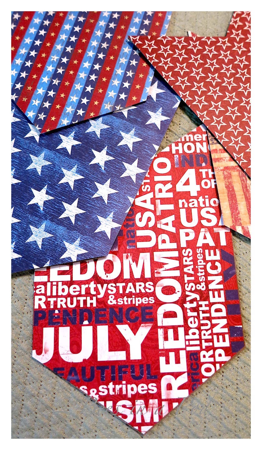 DIY red, white and blue USA banner. Added burlap and muslin for a vintage, rustic look.