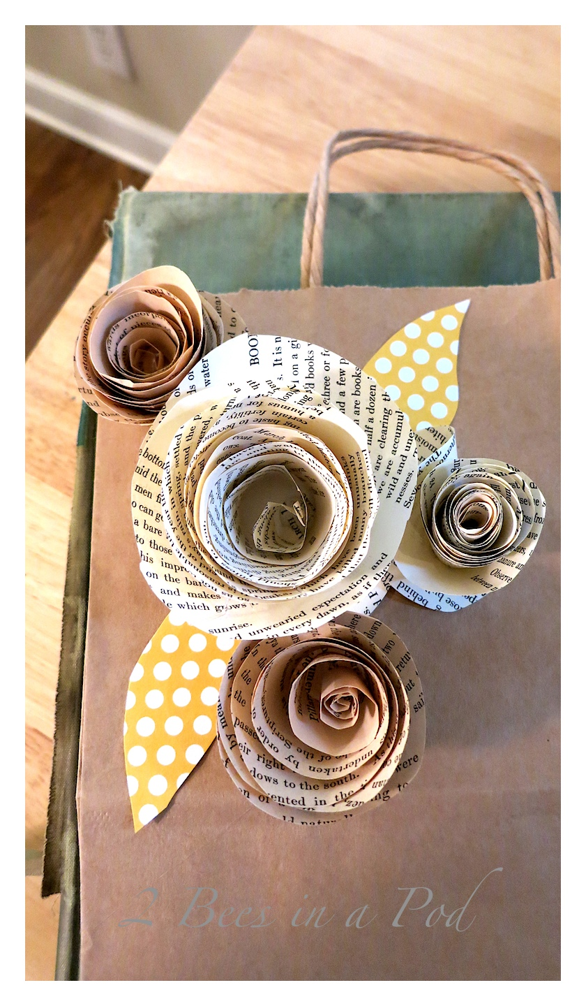 Diy Paper Roses From Vintage Book Pages 2 Bees In A Pod
