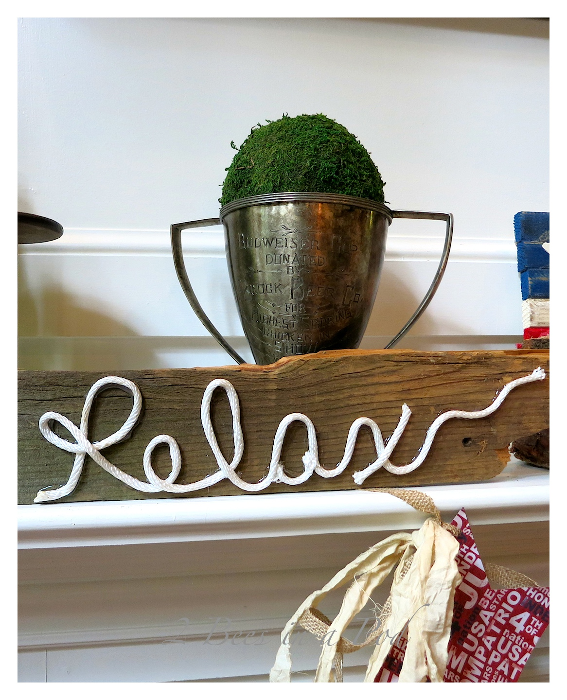 "DIY sign created with vintage fence post, white cording and hot glue...we all need to ""relax"""