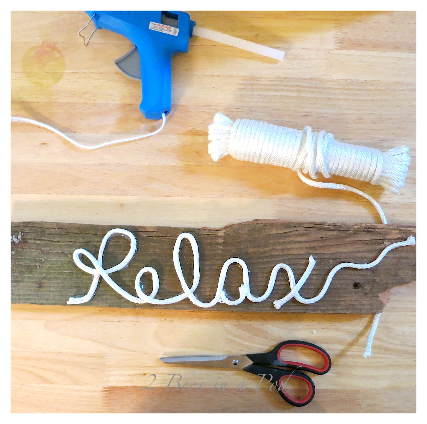 """DIY sign created with vintage fence post, white cording and hot glue...we all need to """"relax"""""""