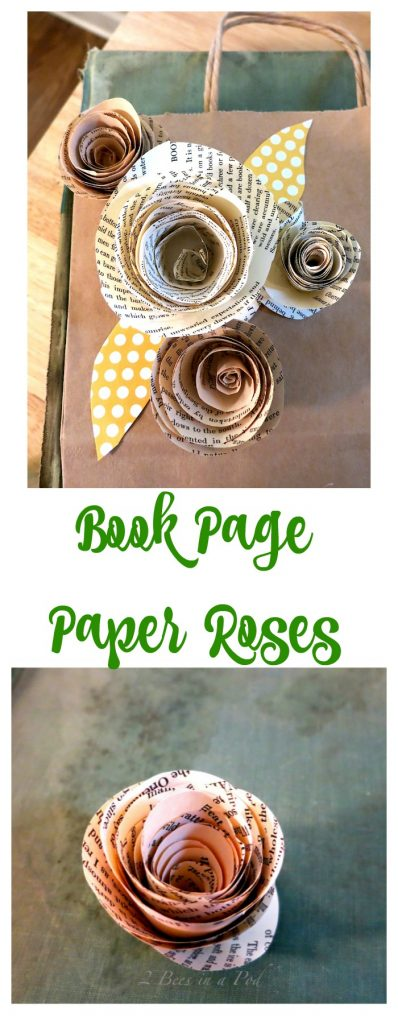 Book Page Paper Roses. Easy and fun to make.
