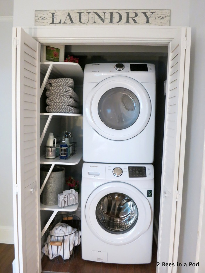 it goes to show that you can turn a small space into something incredibly useful. So thrilled with the outcome of our laundry closet makeover.