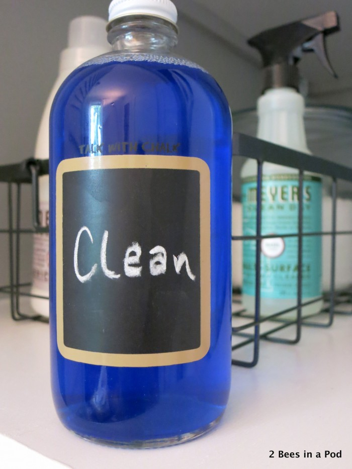 We found this glass bottle at TJ Maxx and thought it would be perfect to for holding liquid detergent. It's a great addition to the laundry closet makeover.