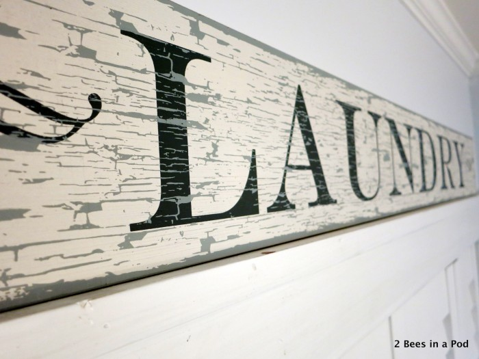 When we found this laundry sign at HomeGoods, we new it would be perfect for the laundry closet makeover. Such an awesome find!