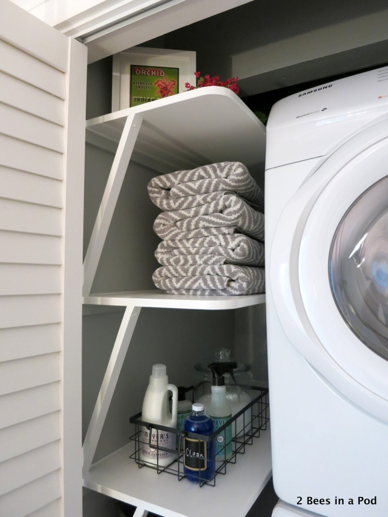 We utilized all of the space in our laundry closet by adding these custom shelves. It is perfect for holding towels, linens, and cleaning supplies.