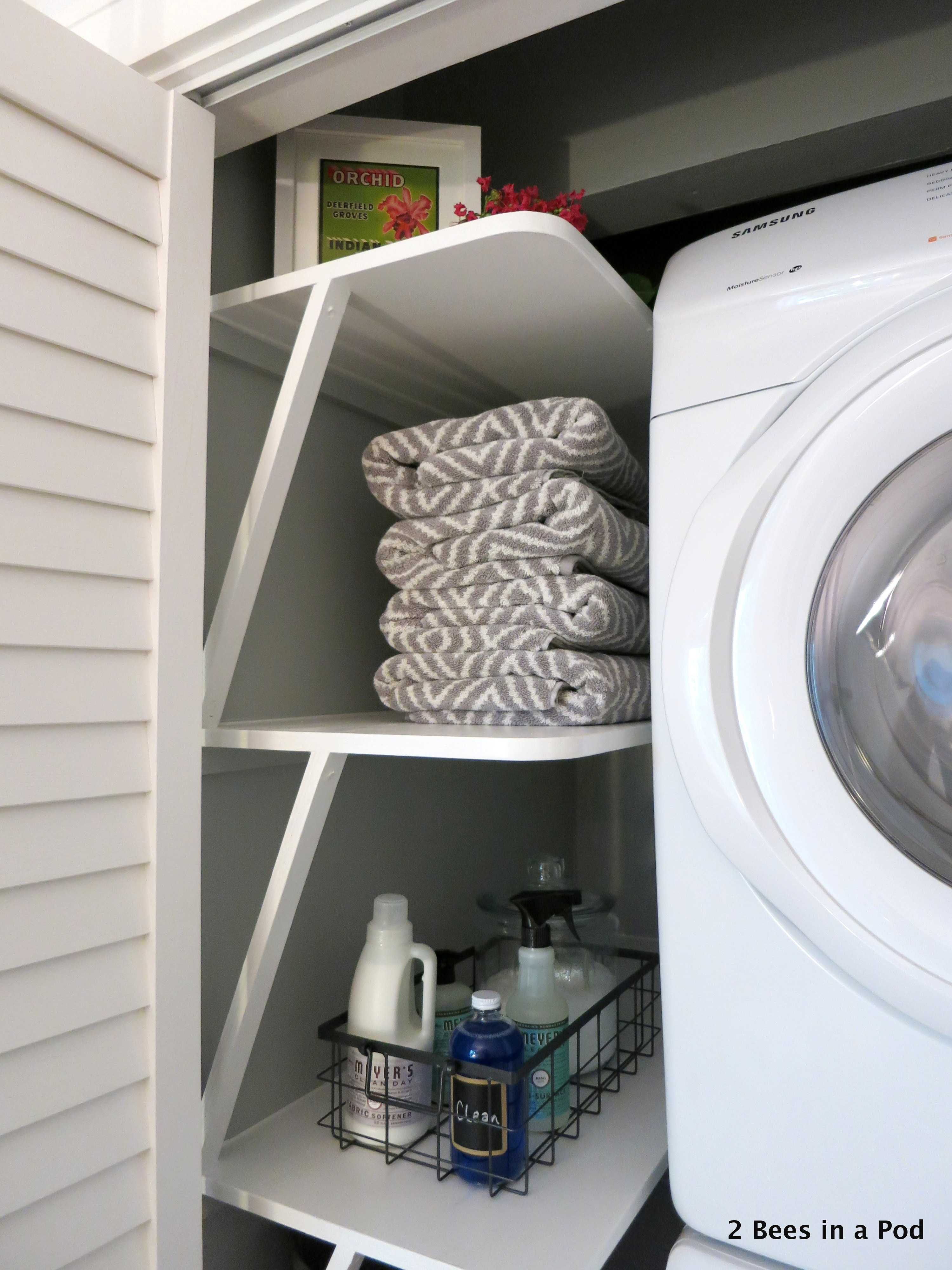 We Utilized All Of The Space In Our Laundry Closet By Adding These Custom  Shelves.
