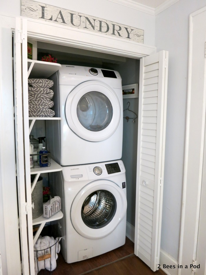 To complete the look of the laundry closet makeover, we used items from HomeGoods, TJ Maxx, Country Living Fair, Home Depot, and Mrs. Meyers. We couldn't have asked for a better outcome to this project for our home.