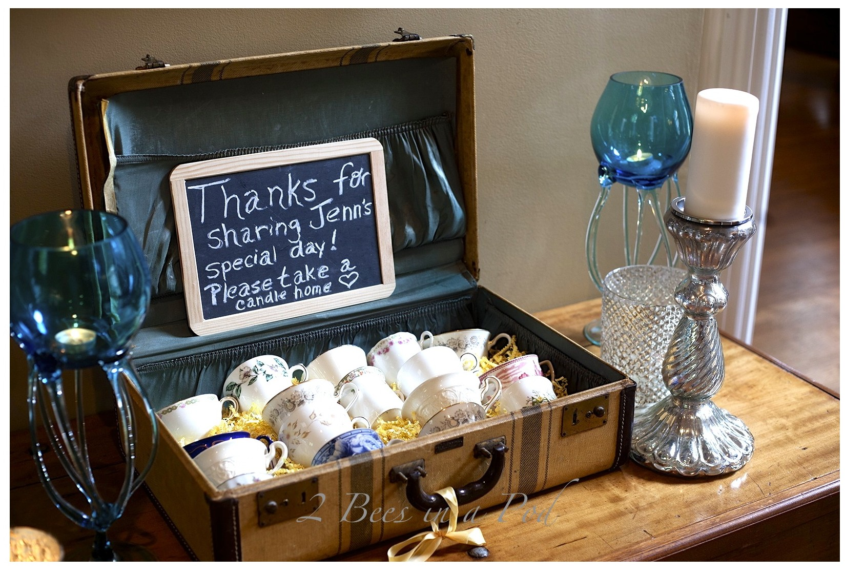 Just 2 easy steps to create your own DIY Bridal Shower Party Favor Teacup Candles.
