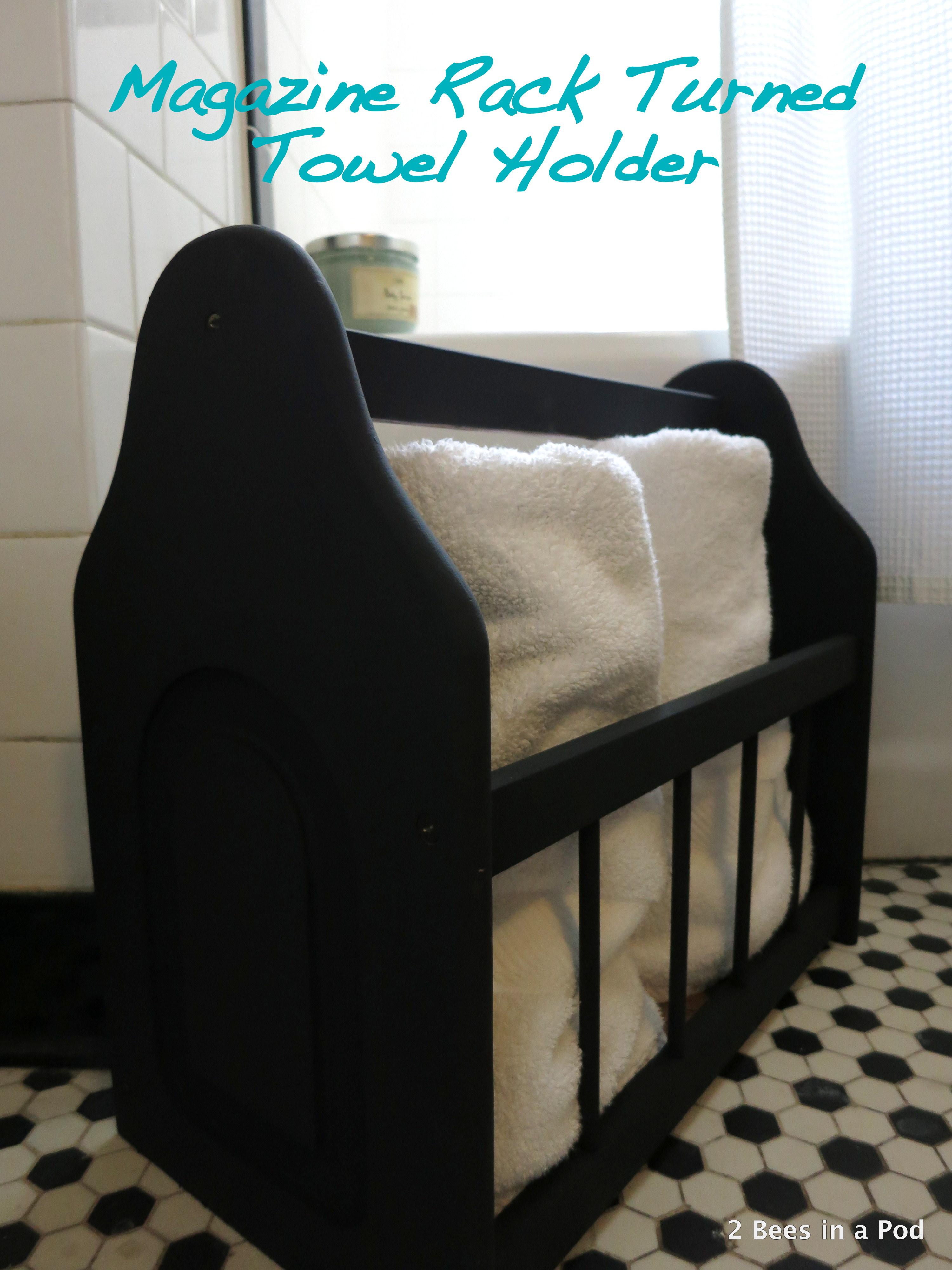Magazine Rack turned Towel Holder with black chalk paint