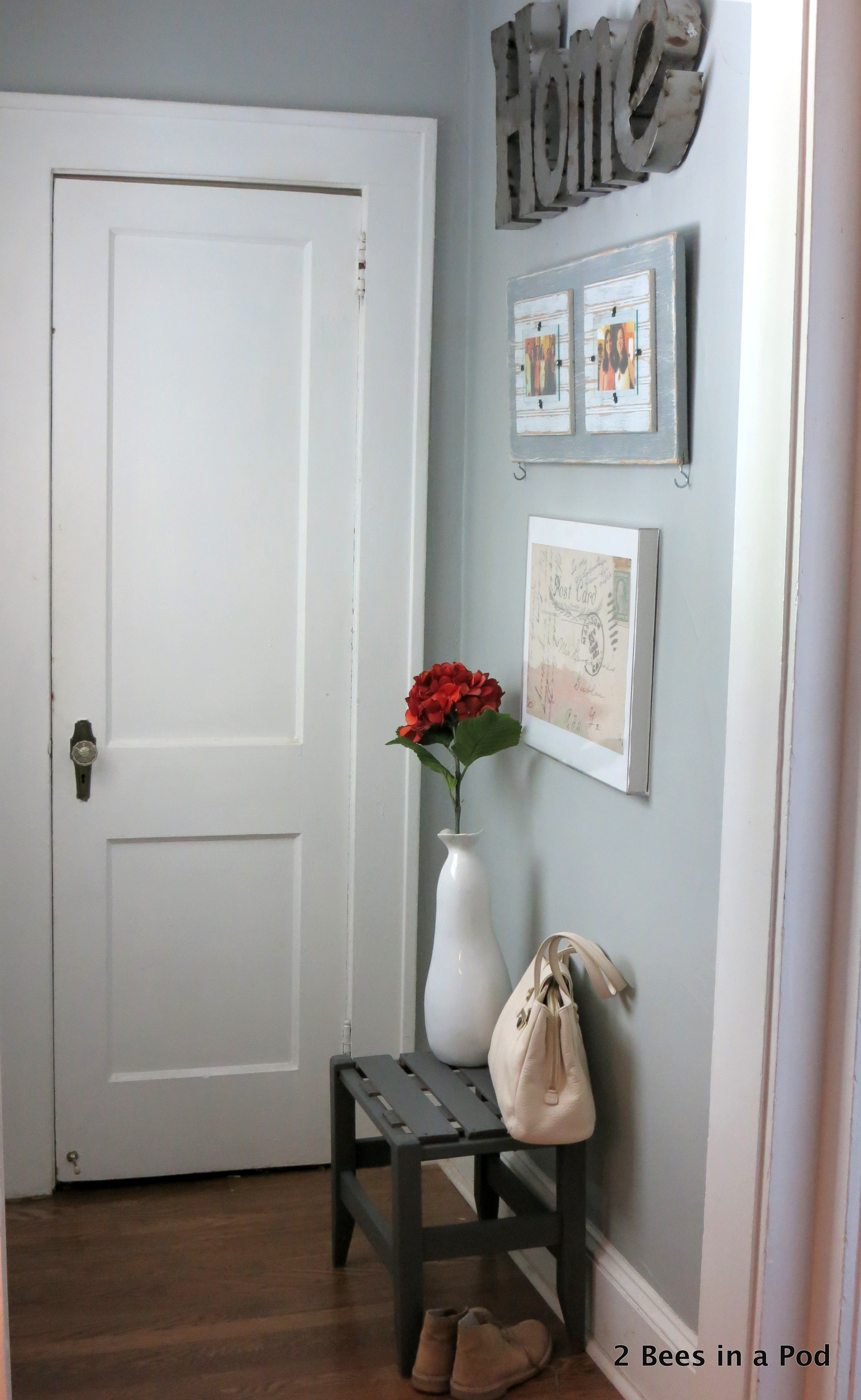 Entryway Refresh with painted bench and wall art. Vintage Post Card blown up, Picture Frame, Industrial Home Sign. Small Space. Before & After.