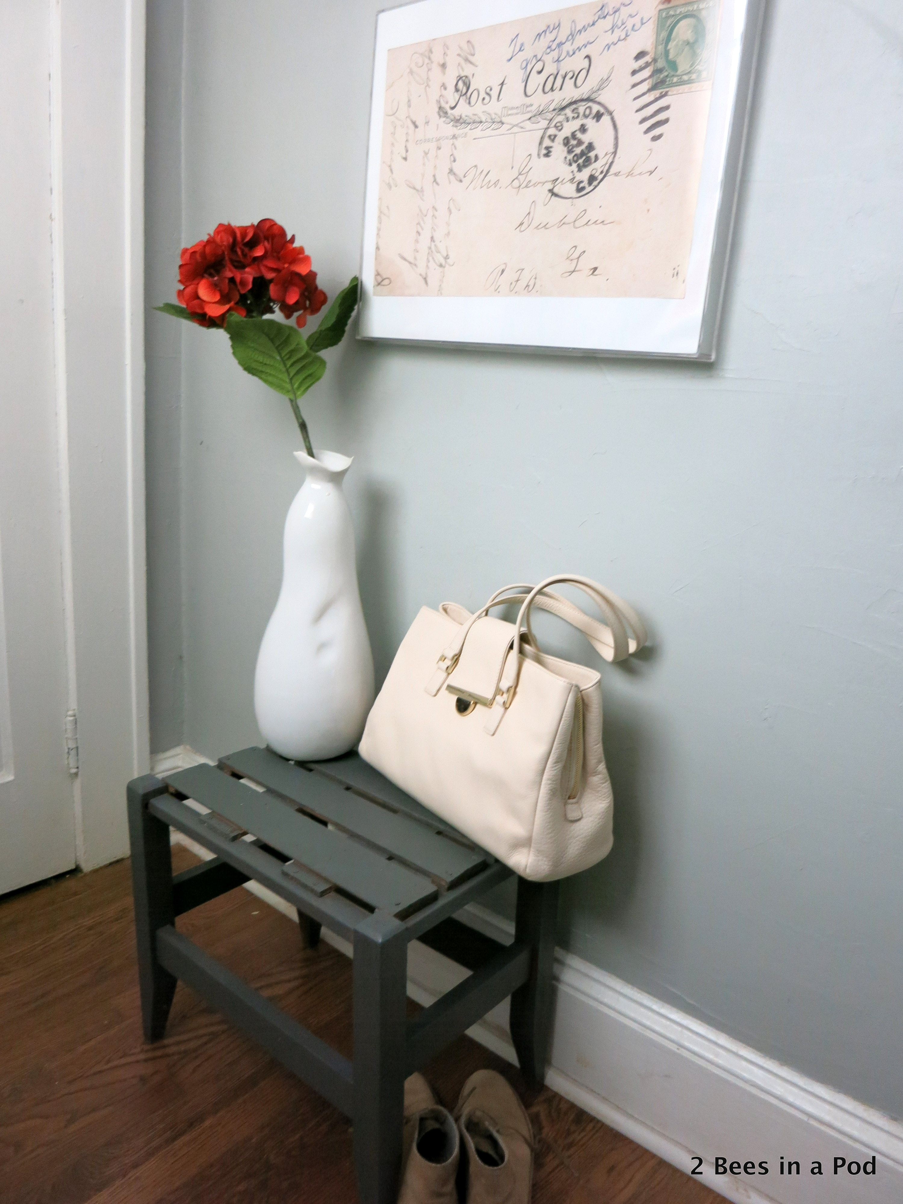 Entryway Refresh with painted bench and wall art. Vintage Post Card blown up, Picture Frame, Industrial Home Sign. Small Space. Before & After