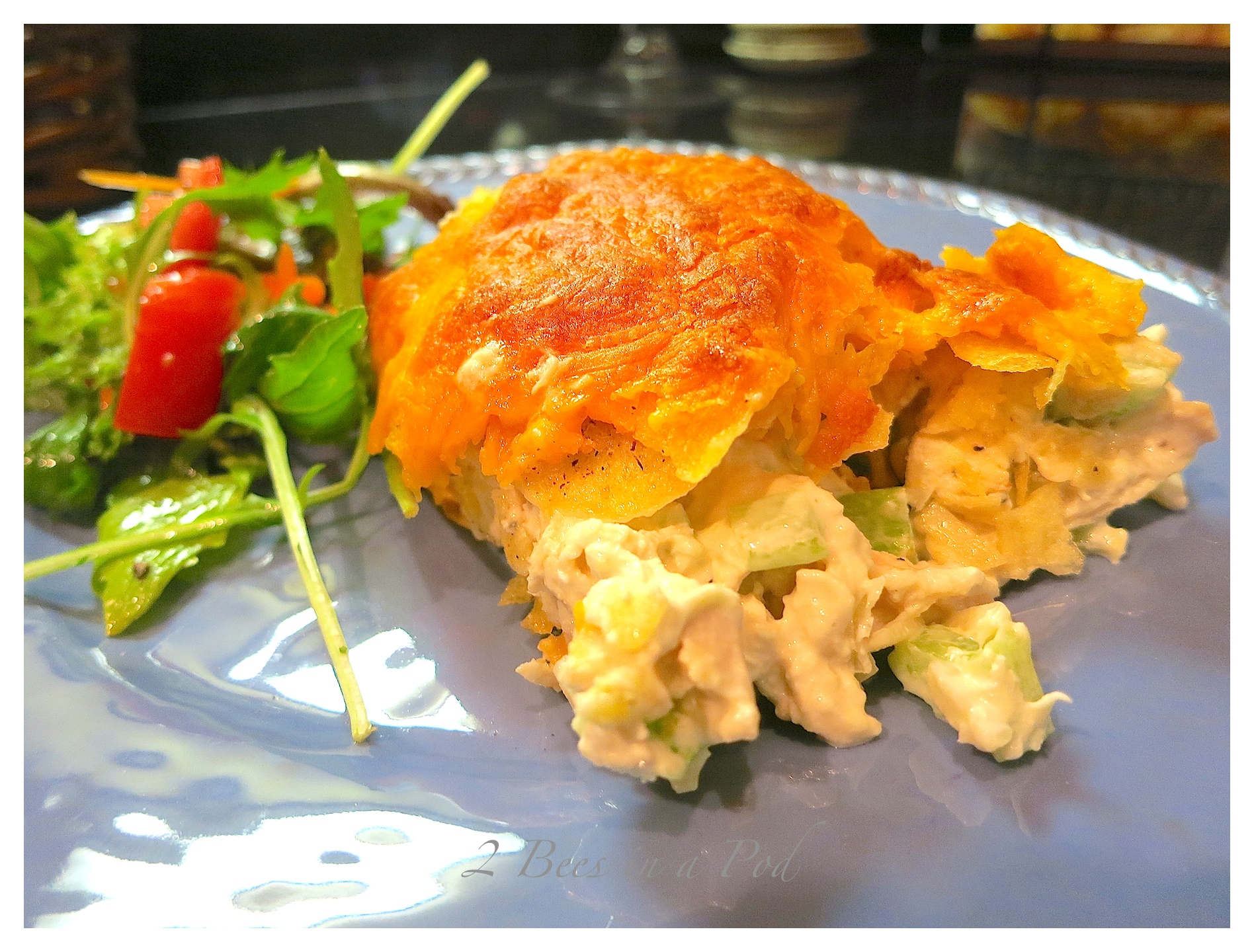 Scrumptious Baked Chicken Salad. Great crunch with added chips, celery ...