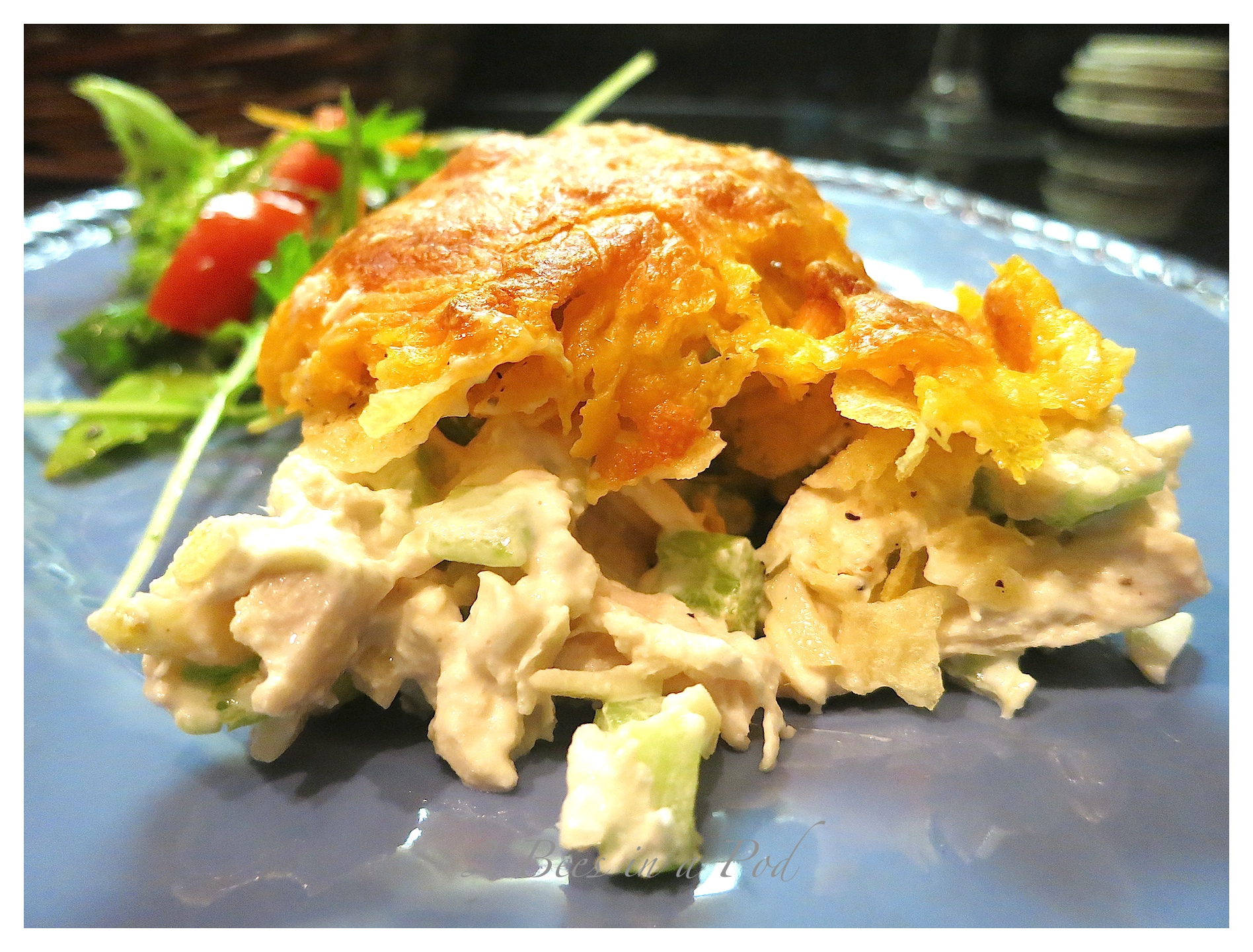 Scrumptious Baked Chicken Salad. Great crunch with added chips, celery and almonds.